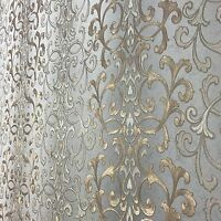 Wallpaper textured wallcoverings modern damask gray gold bronze metallic roll 3D