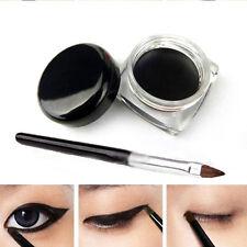 Fashion Waterproof Black Eye Liner Eyeliner Shadow Gel Makeup Cosmetic + Brush