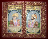 Mughal Portrait Painting Shah Jaha Mumtaz Miniature Handmade Art Made With Gold