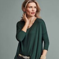Cabi Women's Size S Chill Tunic Top Tee Green Long Sleeve Stretch Knit V-Neck