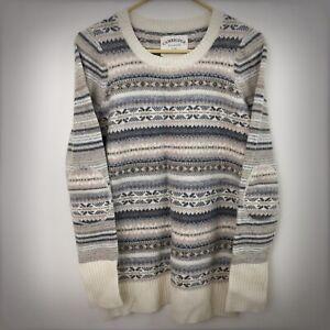 Cambridge Dry Goods Lambswool Blend Sweater Fair Isle Nordic Print Large