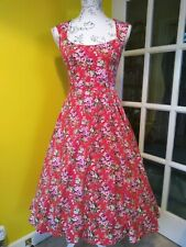 Lindy Bop Grace Red Floral Swing Dress Size 6-8