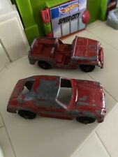 Vintage Metal TootsieToy Red Porsche And Military Jeep Red HTF Vintage