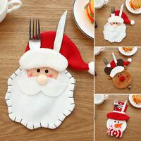 4x Santa Christmas Noël Table Décorations Hôte Vaisselle Couverts Vaisselle Sac
