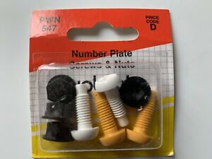 4 X Plastic Number Plate Screws & Nuts Yellow White Black Nut New
