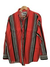 Roper- Rodeo Blue- Handsome Mens Western Red Stripe Button Up Shirt , X-Large
