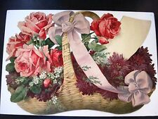 Gorgeous Vintage Large Die Cut w/ Basket of Stunning Pink Roses w/ White Bow *
