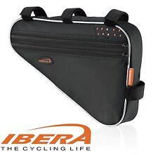 IBERA Bike Triangle Frame Bag Bicycle Top Tube Pouch Reflective Trim Black FB1L