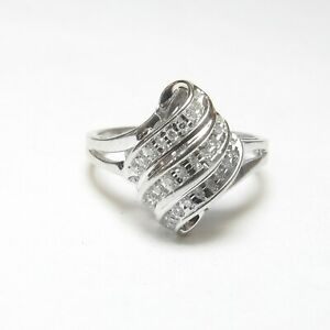 Estate 10K White Gold 30 Round Single Cut Diamond Cluster Ring 0.30 Cts