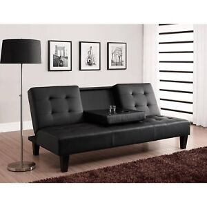 Faux Leather Futon With Two Cup Holders