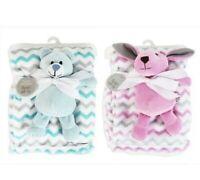 Quality Baby Pink Blue Blanket Soft Warm Fleece Toy bear Comforter pram cot bed