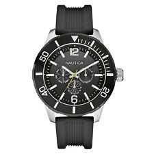 New Nautica NSR 11 Multi-Function Black Rubber Date Men Watch 50mm N14623G $145