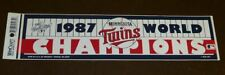 1987 MINNESOTA TWINS WORLD SERIES CHAMPIONS BUMPER STICKER - FREE SHIPPING
