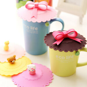 Bowknot Safe Silicon Anti-dust Mug Cap Cup Glass Lid Leakproof Cover JB