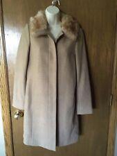 BANANA REPUBLIC Wool Camel Long COAT size S Small SHEARLING Fur Collar Tan K7