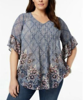 Style & Co Women's Plus Size 2X Printed Pintucked Tunic Top Garden Harvest NEW }