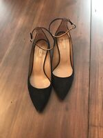Aquazzura Suede Black Pumps with Kitten Heel and Ankle Strap Size 38.5