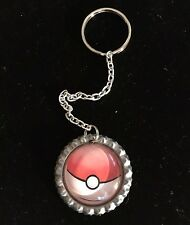 Pokémon Pokeball Glass Dome Metal Bottle Cap Keychain Accessory