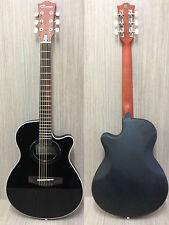 "Caraya 38"" C-836BK Round-back Acoustic guitar Black w/Free gig bag,digital tuner"
