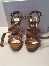 Women's High Heel Sandals Suede Tan Strappy Platform Heel Boston Proper Size 7M