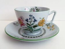Spode Summer Palace Cup & Saucer English Stoneware Floral Green Trim c 1972