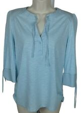 Caribbean Joe Womens Ruched Side Top Sz PM Lt Blue, 3/4 Slv, Tie Neck/ Sleeve