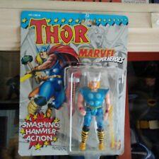 TOYBIZ 1991 THOR MARVEL SUPER HEROES SMASHING HAMMER ACTION!