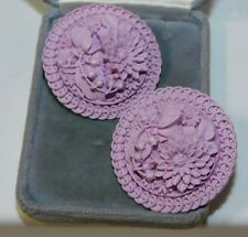 Vintage Lavender Flower Lily Valley Molded Plastic Button Clip Earrings 4h 88