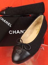 NIB CHANEL BLACK LEATHER  QUILTED FABRIC CAP TOE BOW CC LOGO FLATS 39.5