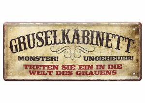 Blechschild lustige Sprüche Wandschild Gruselkabinett Geisterbahn gruselig 28x12