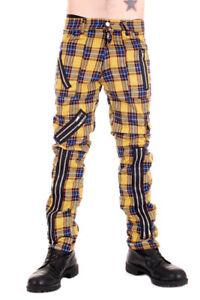 Tiger of London Mens Punk Rock Zip Bondage Yellow Tartan Pants.