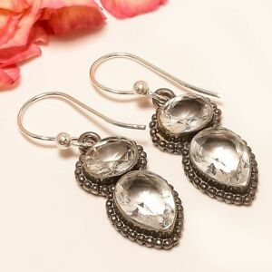 "White Topaz Black Rhodium Plated Earring Jewelry 1.73"" DJER-3845"