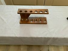 Vintage Antique 7 Pipe Tobacco Holder Solid Wood Stand Rack or Wall Mount