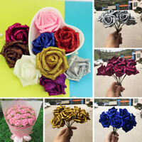 5pcs Artificial Foam Glitter Rose Flower DIY Gifts Bridal Bouquet Wedding Decor
