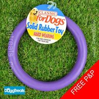 """Rubber Ring Dog Toy - Solid Large 7"""" Inch Size - Chew Play Teeth Tug"""