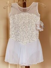 Icings NWT Childs WHITE LACE COMPETITION ROLLER ICE SKATING DANCE BATON DRESS
