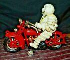 MICHELIN MAN RIDING HARLEY DAVIDSON MOTORCYCLE Cast Iron Toy Clicker Wheel 2 Pc