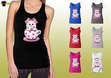 Cat Graphic Shirts Cute Kitten Design Cat in the Cup Ladies Tank Top (14908I6)