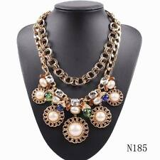 Gold Plated Chain Crystal Pearl Pendant Statement Necklace For Women Wholesale