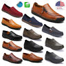 Mens Leather Canvas Casual Shoes Slip on Driving Loafers Moccasins Flat Antiskid