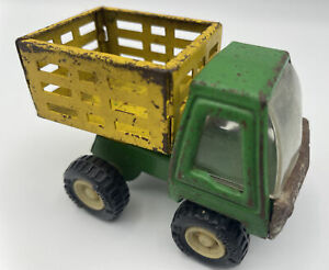 Buddy L Small Farm Truck Stake Bed Dump Body - Green And Yellow Hong Kong