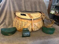Vintage Fly Fishing Creel Wicker / Leather / Canvas Basket & 3 Metal Lure Boxes