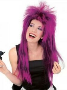 NEW Rubie's NEON SHAG Wig Adult Purple Mullet 80s Rock Star Halloween Costume