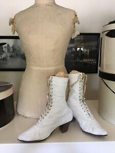 Authentic Vintage Antique Victorian Edwardian White Canvas Lace Up Women's Boots