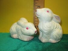 Bunny Rabbits Salt & Pepper Shakers Set ~ White with Pink Details