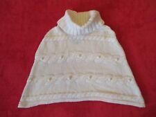 Fille Age 7-8 ans Manteau PONCHO Chaud Hiver Blanc Ivoire Vêtement Habillé