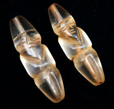 Pair Old Tibetan Crystal Carved Ancient Figurine Shaped Beads #09262001