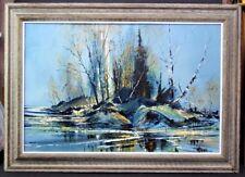 Large Vtg RICHARD E WAGNER (1923-2009) Cubist Modernist Landscape Oil Painting