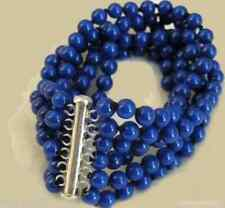 New 6 Rows 6mm Lapis lazuli White Gold Plated Clasp Bracelet 7.5''