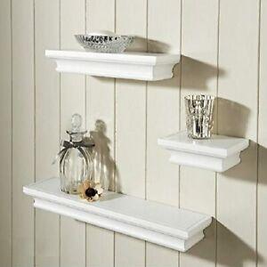 White Set of 3 Modern Wood Effect Vintage Floating Shelves Shelf Storage-0008